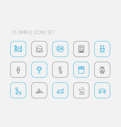 Set of 15 editable relatives icons line style vector