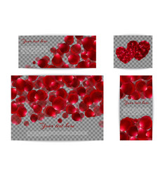 Set of banners with red petals vector