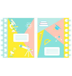 Set of notebook covers with science theme vector