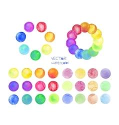 Set of rainbow watercolor circles vector