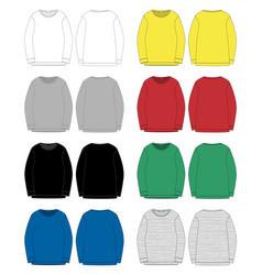 set technical sketch for men sweatshirt front vector image