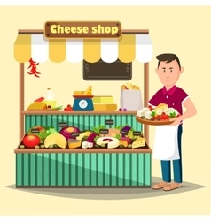 Showcase with man selling cheese products vector
