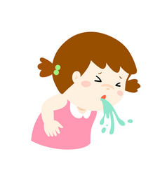 sick girl vomiting cartoon vector image
