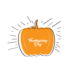 sketch of a pumpkin thanksgiving day label vector image