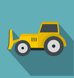 Skid steer loader icon flat style vector
