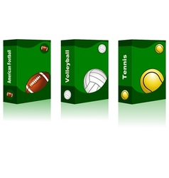 Sport box - American Football Volleyball Tennis vector image