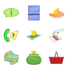 stock of money icons set cartoon style vector image