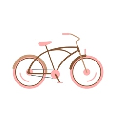 Stylish womens pink bicycle isolated on white vector image