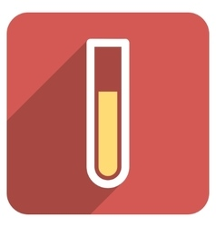 Test tube flat rounded square icon with long vector