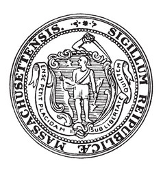 The seal of the state of massachusetts vintage vector