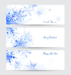 Three headers with abstract blue snowflakes vector