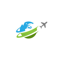 travel airplane world creative air design logo vector image