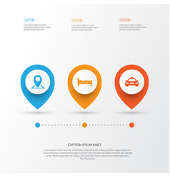 Traveling icons set collection of location car vector