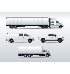 Trucks collection for transportation cargo vector