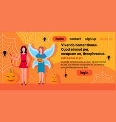 two women devil fairy costumes spider web pumpkin vector image