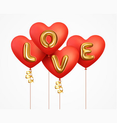 Valentines day background 3d red balloons heart vector