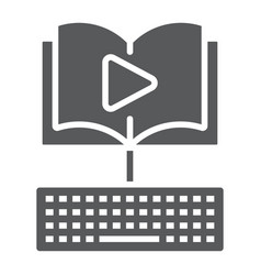 video lesson glyph icon e learning and education vector image