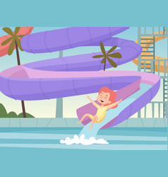 Water park background kids jumping and swimming vector