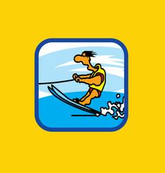 water skiing raid vector image