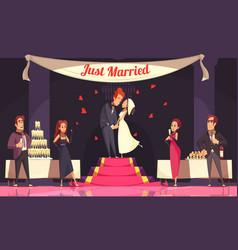 Wedding reception cartoon vector