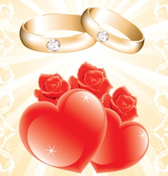 wedding theme with golden rings roses and hearts vector image