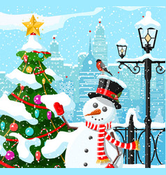 winter christmas city background vector image