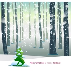Winter forest with text greetings vector