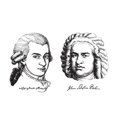 Wolfgang amadeus mozart and johann sebastian bach vector