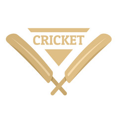 Wood cricket bats logo flat style vector