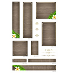 Wooden backgrounds with tropical flowers vector image