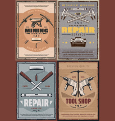 Work tools of construction house repair or mining vector