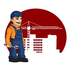 Worker on building site vector