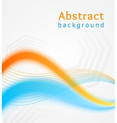 Blue and orange business wave background flyer vector image