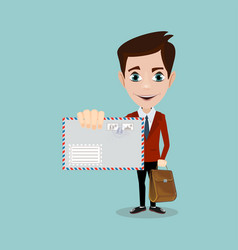 business man hand holding envelope vector image vector image