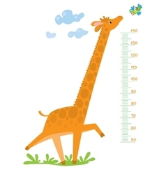 Meter wall with giraffe and bird vector image