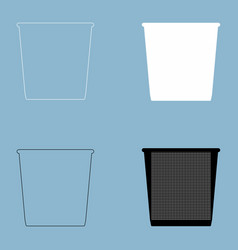 Trash bucket the black and white color icon vector