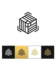 Block or cube 3d structure icon vector