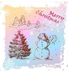 christmas hand drawn card vector image vector image