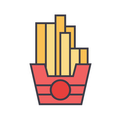 french fries concept line icon editable vector image vector image