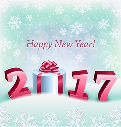 Happy New 2017 Year and a Gift Box vector image