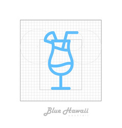 icon of cocktail with modular grid blue hawaii vector image