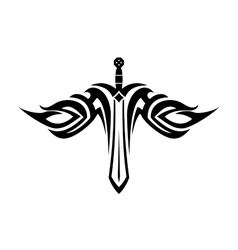 Sword tattoo with flowing wings vector image vector image