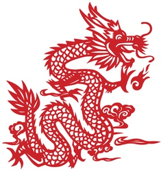 Traditional Chinese dragon paper-cut art vector image vector image
