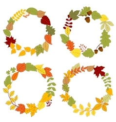 Autumn leaves wreaths with acorns and berries vector image