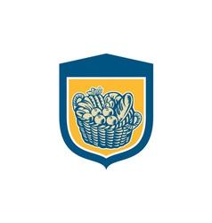 Crop harvest basket shield woodcut vector