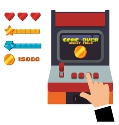 retro arcade game console joystick vector image