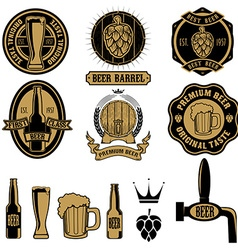Set of beer labels and design elements vector image