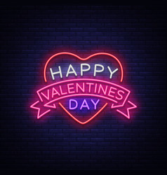 happy valentine s day is a neon sign bright light vector image vector image