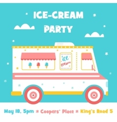 Ice Cream Truck Party Invitation vector image vector image