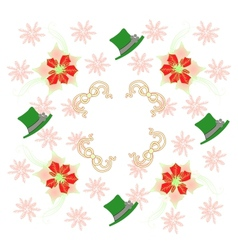 White Pattern with Poinsettia and Snowflakes vector image vector image
